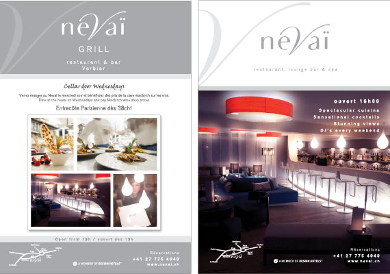 Design work includes posters, invitations, Verbier Life magazine adverts.