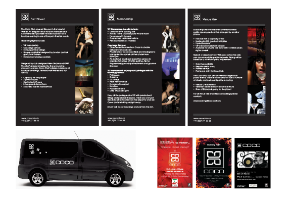 Design work includes van branding, brochure, business cards, posters, invitations, Verbier Life magazine adverts.